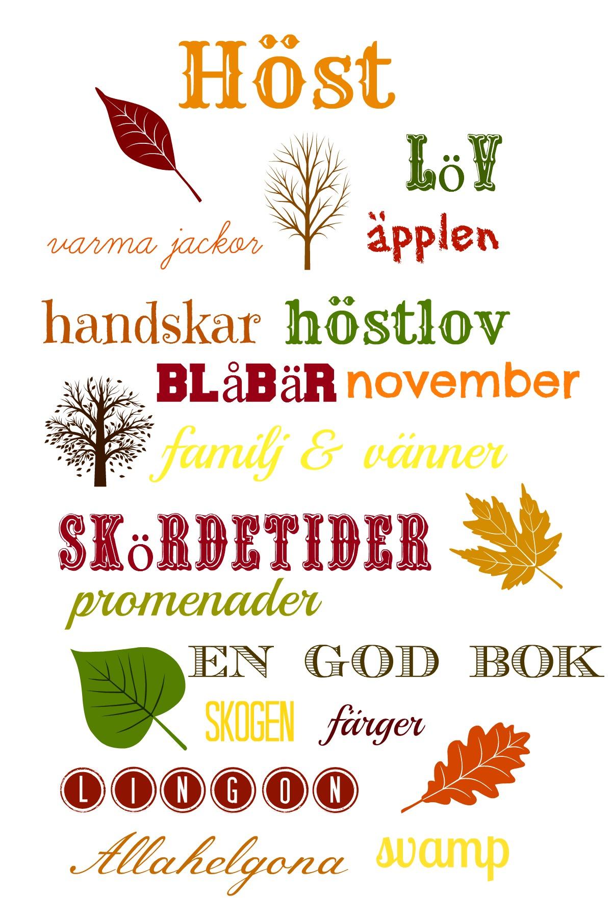 Learn Swedish free printable fall