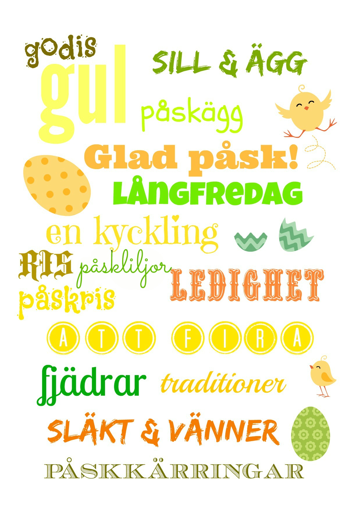 miniposter Swedish vocabulary related to Easter